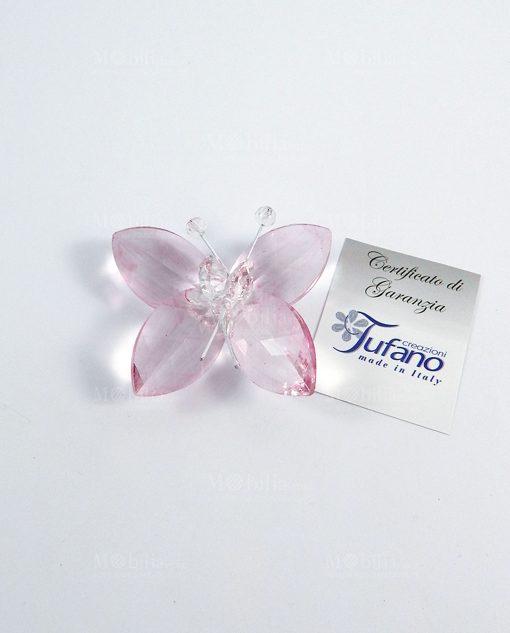 farfalla in cristallo rosa tufano