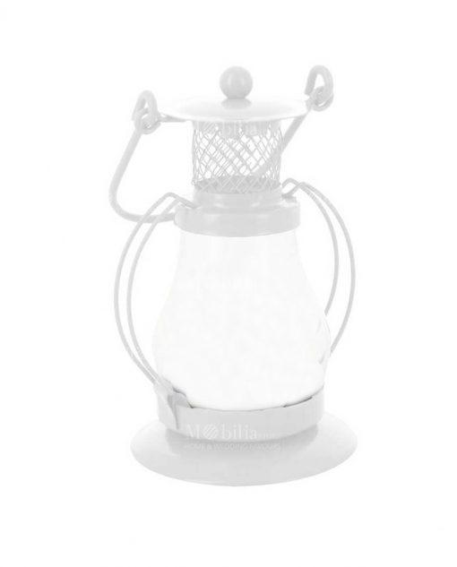 Lumino Lanterna Metallo Bianco Portacandele con Ampolla Vetro