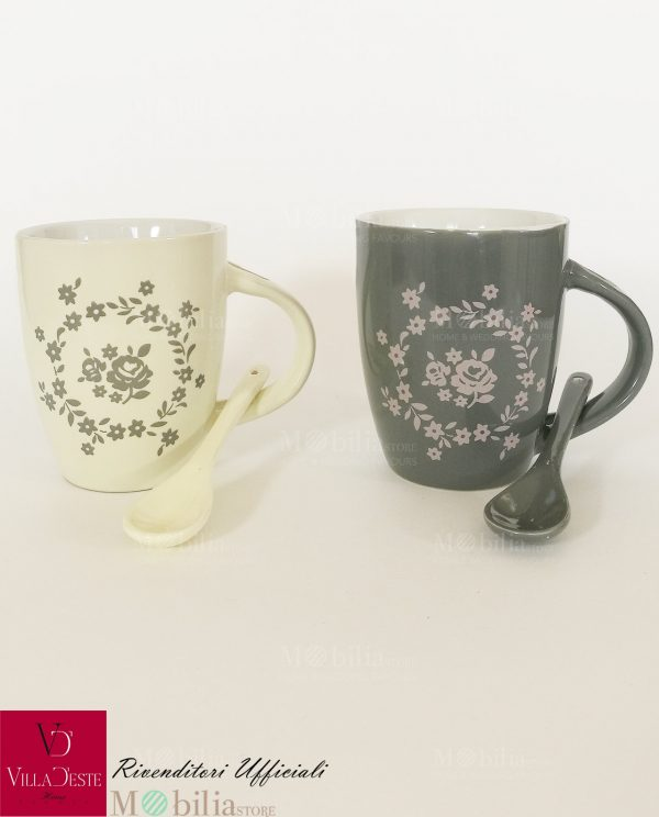 Mug Ceramica Decorata con Rose Romantic Villa d'Este