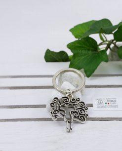portachiavi albero della vita con croce tau argento