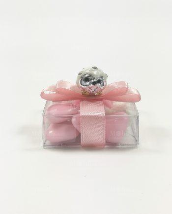 Riccio Bomboniere Nascita Battesimo Rosa Confezionate