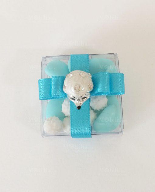 Riccio Bomboniere Nascita Battesimo Azzurre Confezionate