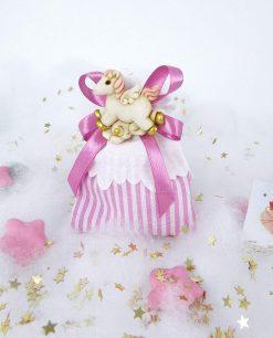 sacchettino righe rosa con magnete cavalluccio rosa e fiocco
