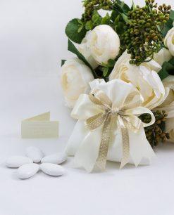 sacchetto portaconfetti bianco con nastro panna e tortora