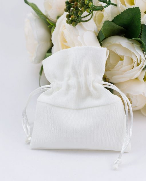 sacchetto portaconfetti bianco con tirante