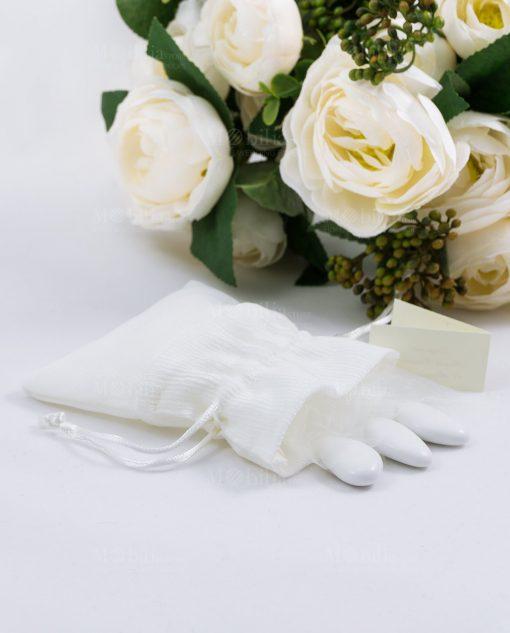 sacchetto portaconfetti bianco rigato con tirante