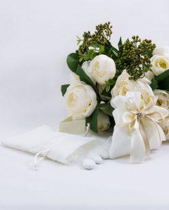 sacchetto portaconfetti cotone bianco con nastri