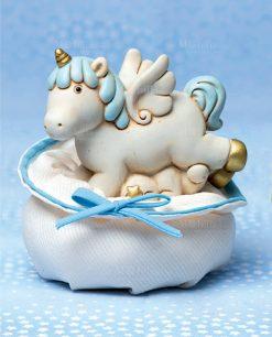 salvadanaio unicorno grande azzurro su sacchettino