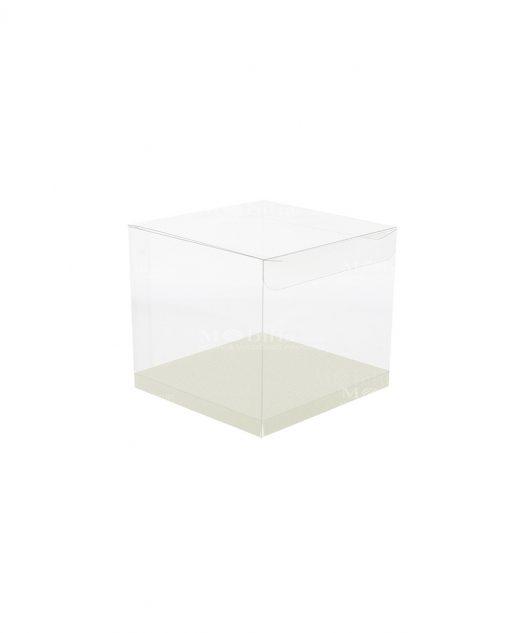 scatola quadrata pvc trasparente con fondo 10 X 10 X 10 cm