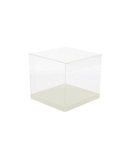 scatola quadrata pvc trasparente con fondo 12 X 12 X 12 cm