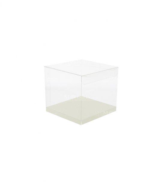 scatola quadrata pvc trasparente con fondo 9 X 9 X 9 cm