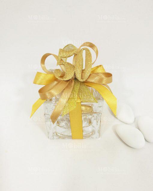 bomboniera scatolina vetro con fiocchi oro e applicazione 50 glitterata oro