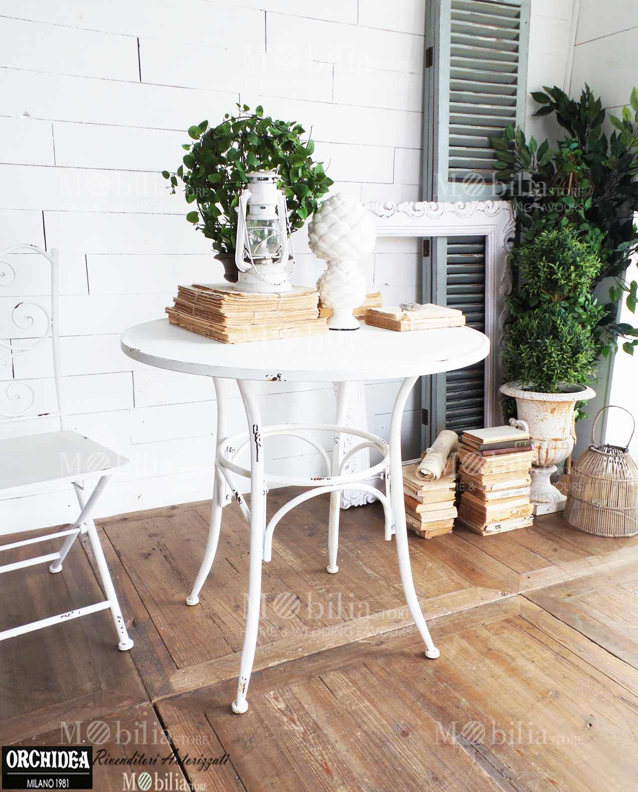 Tavoli rotondi ferro battuto old white spedizione gratuita mobilia store home favours - Tavoli rotondi da esterno ...