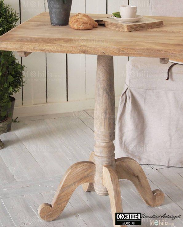 Tavolo Quadrato Legno Bistrot massello di Mango West Coast
