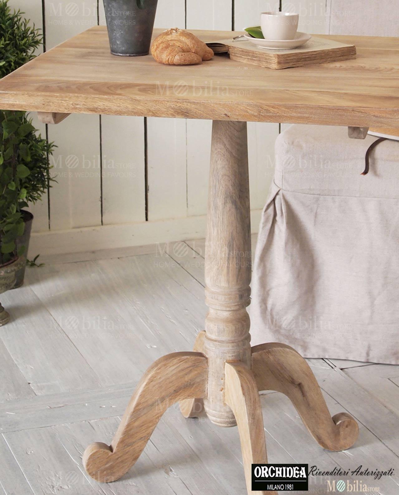 Tavolo quadrato legno bistrot massello di mango west coast for Tavolo legno quadrato