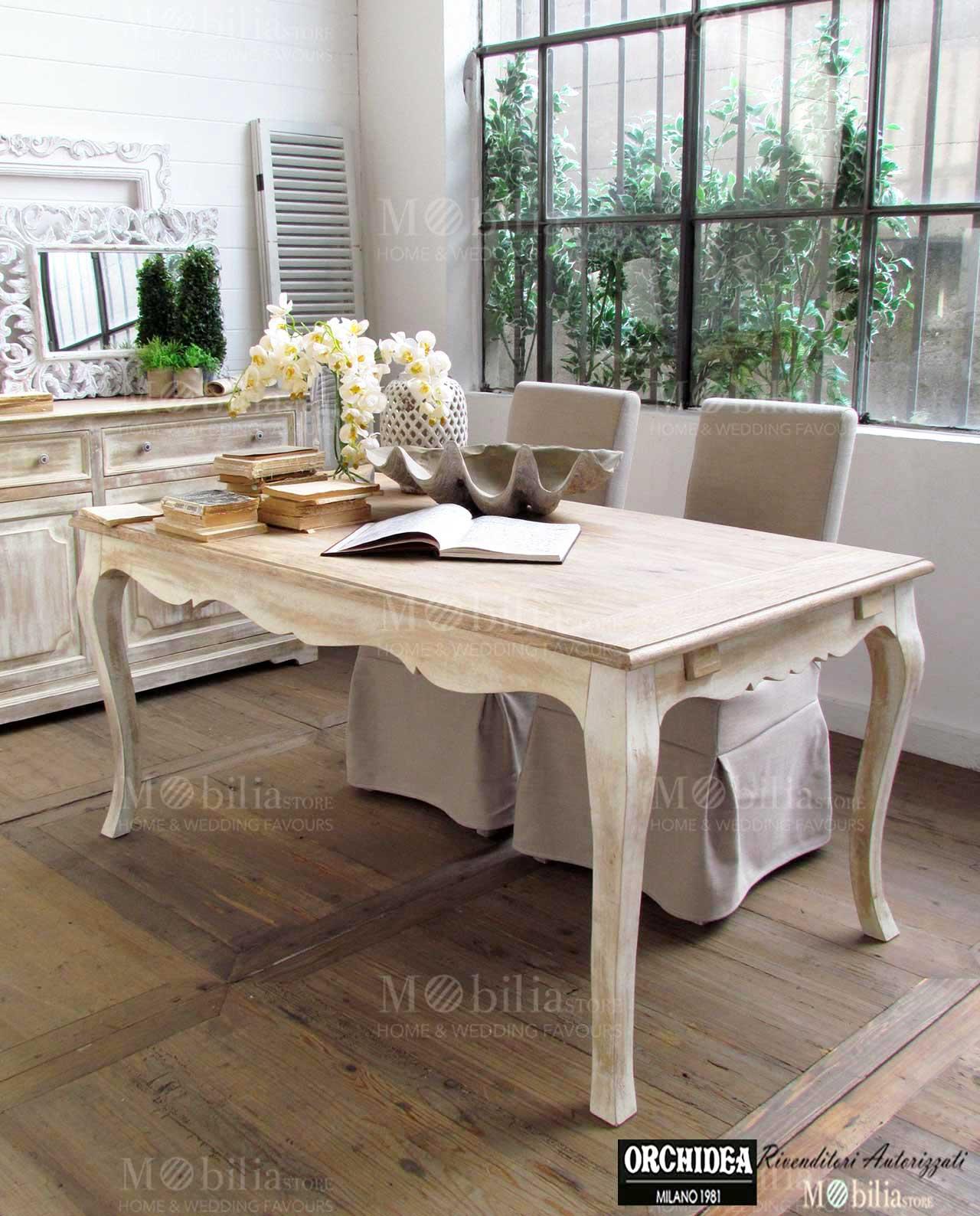 Tavolo allungabile rettangolare legno massello mango chambord for Tavolo consolle allungabile legno massello