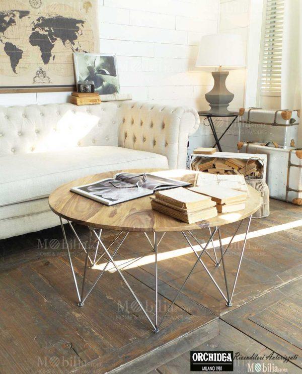 Tavolino Salotto Brooklyn legno palissandro e acciaio