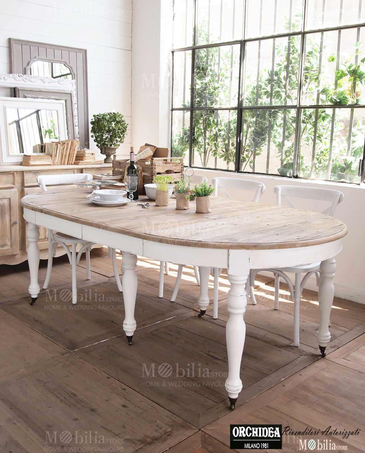 Tavolo Rotondo Allungabile top Legno Pino Shabby Chic – Mobilia Store Home & Favours