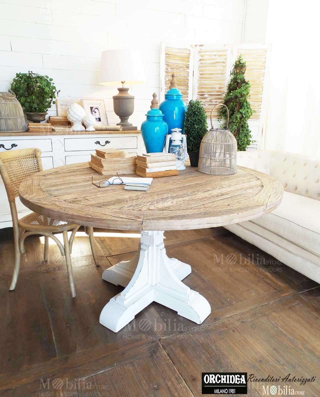 Tavolo Rotondo Legno Rovere New Vintage White Spedizione