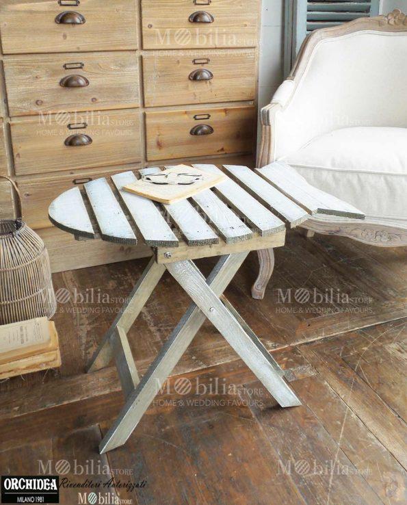 Tavoli Pieghevoli legno Vintage pesce bianco
