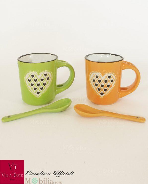Tazzine da Caffè Ceramica Decorata con Cuore Villa D'Este