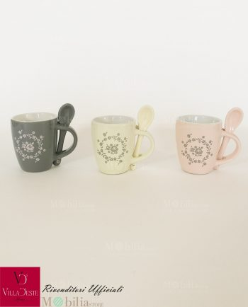 Tazzine da Caffè Ceramica con Rose Romantica Villa D'Este