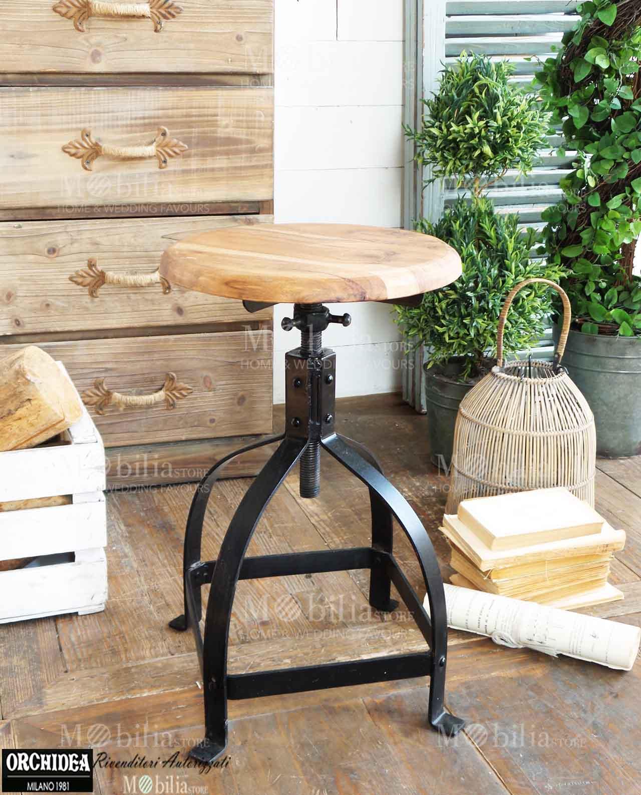 sgabelli industrial altezza regolabile in legno e ferro