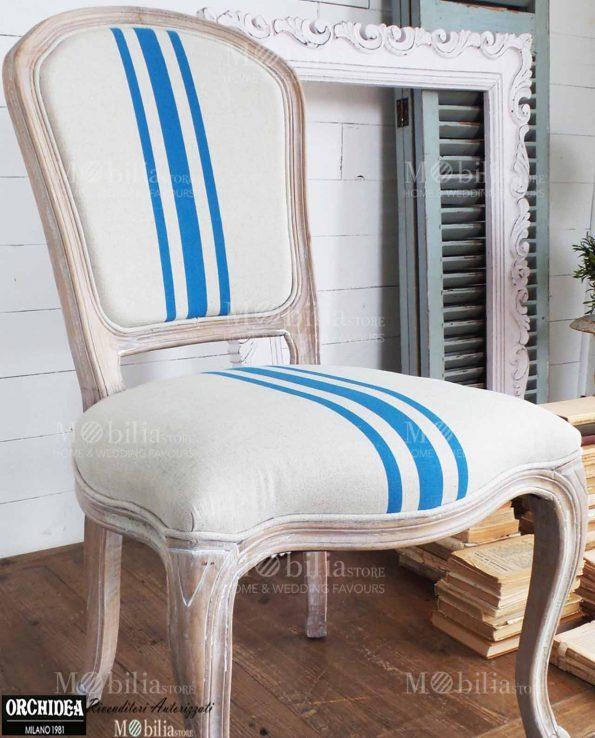 Sedie imbottite legno naturale stile marinaro beige e turchese for Arredamento turchese