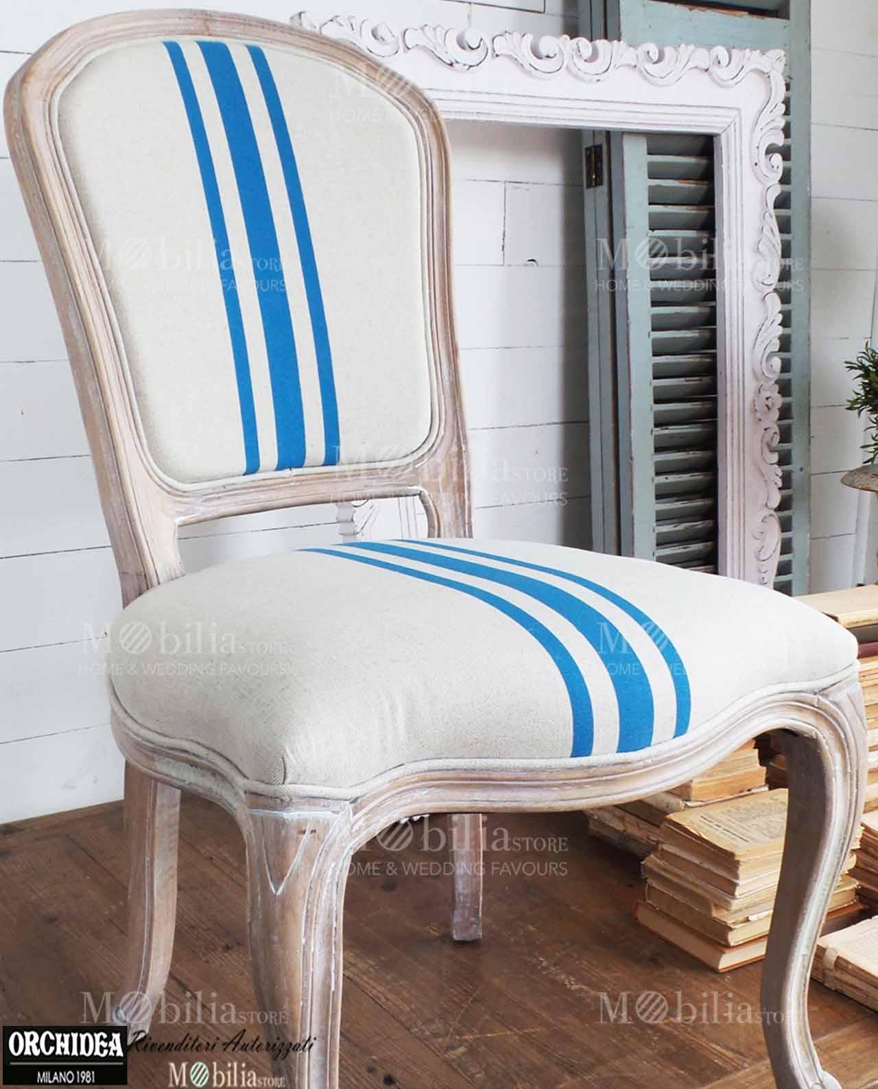 Sedie imbottite legno naturale stile marinaro beige e turchese for Sedie turchesi