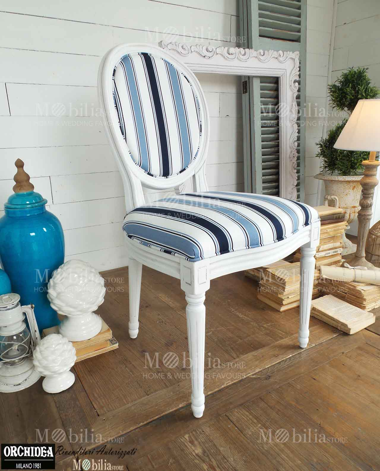 Sedie imbottite legno naturale righe blu e azzurre - Sedie imbottite design ...