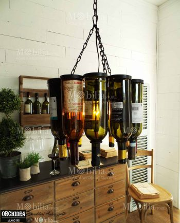 Lampadario Vintage ferro battuto e bottiglie vetro