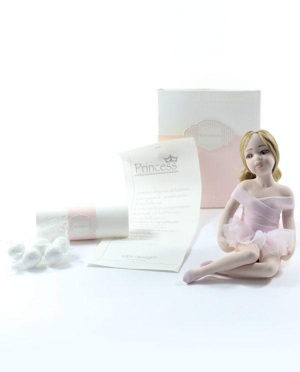 bomboniera ballerina rosa con scatola e confetti ripieni