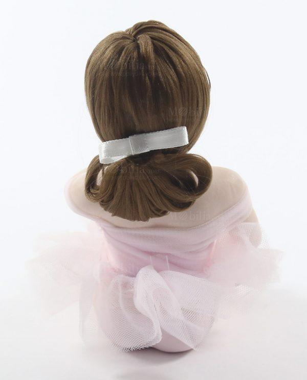 ballerina in porcellana con tutù organza rosa e capelli castani rdm design