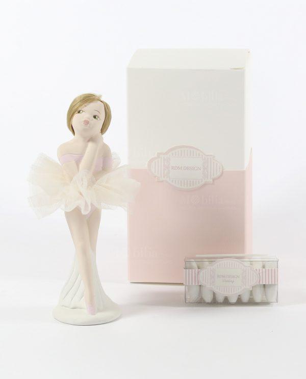ballerina bionda in porcellana con tutù panna confezionata con scatola e confetti
