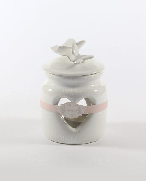portacandela in porcellana con farfalle bianche rdm design