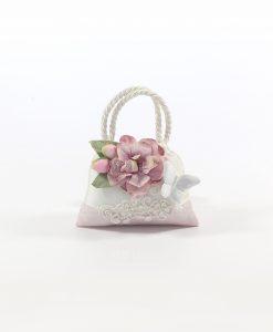 Sacchetti Bomboniere con Farfalla Capodimonte Bianca e Confetti Rdm