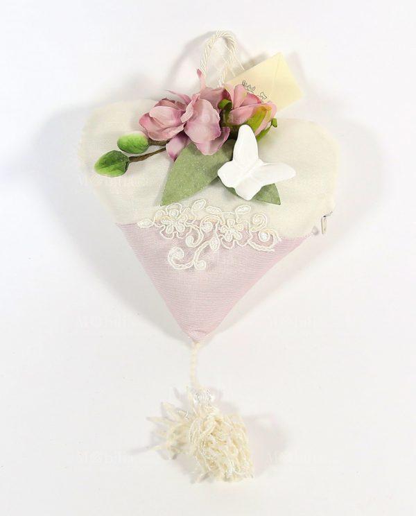 Sacchetti Confetti Cuore con Farfalla bianca e Pizzo Rebrodè Rdm