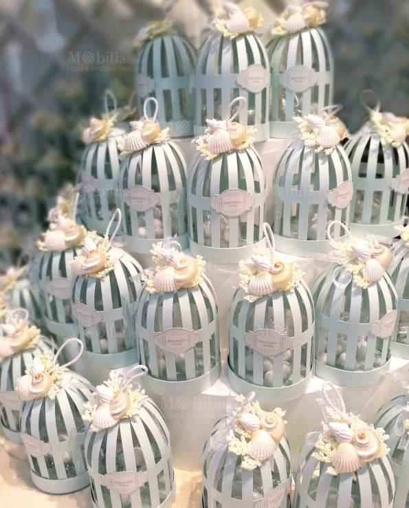 Scatole Bomboniere Lanterna Gabbietta con Confetti Tema Mare