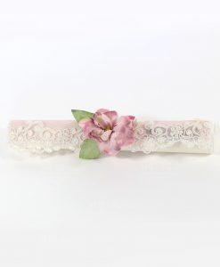 invito pergamena tessuto rosa e bianco con pizzo e magnolia rdm design