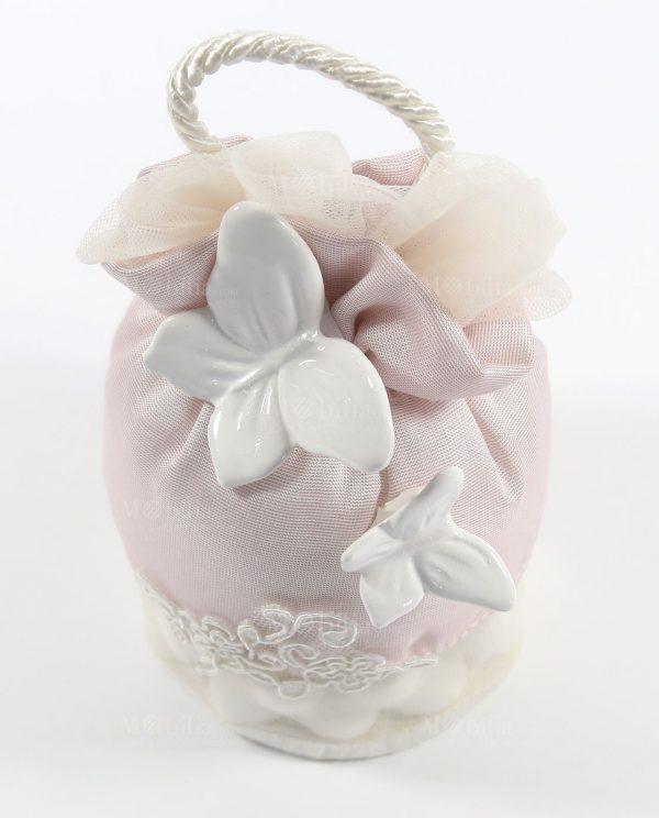 Sacchetti Confetti con Farfalle Bianche e Pizzo Rebrodè Rdm