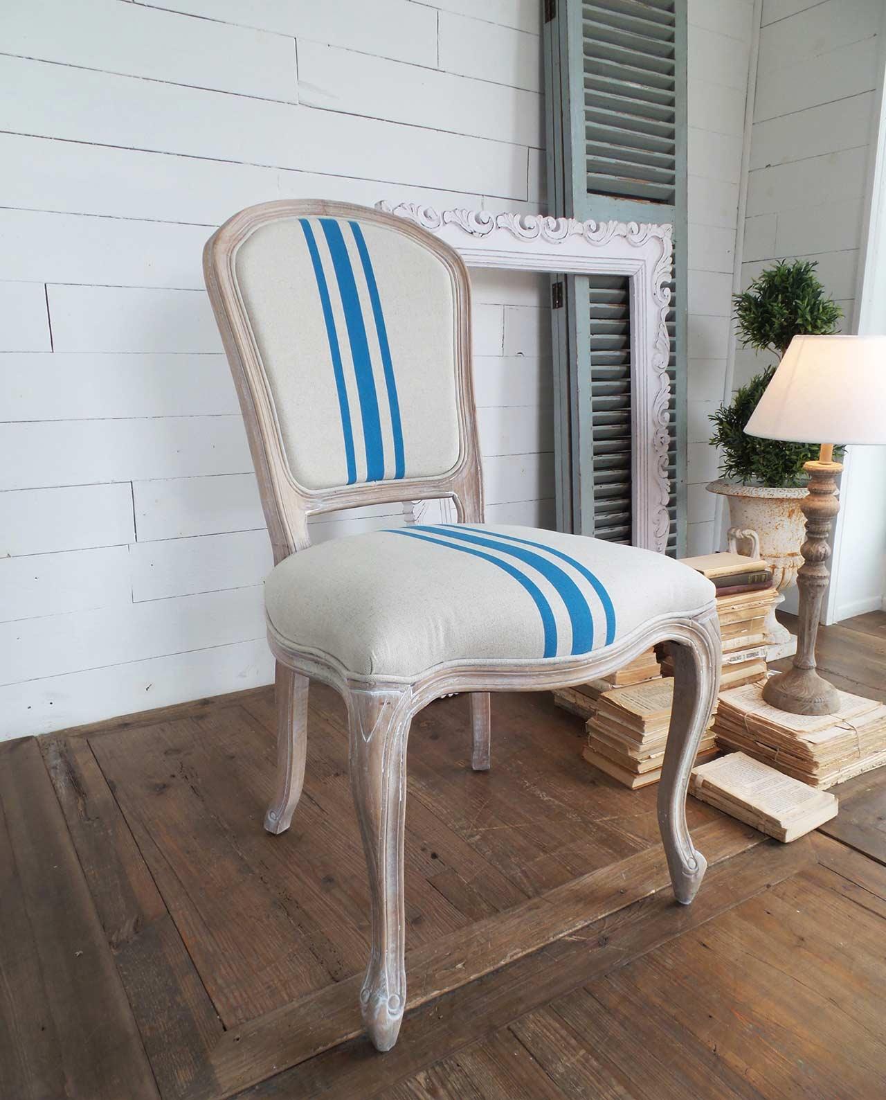 Sedie imbottite legno naturale stile marinaro beige e turchese for Sedie design legno naturale