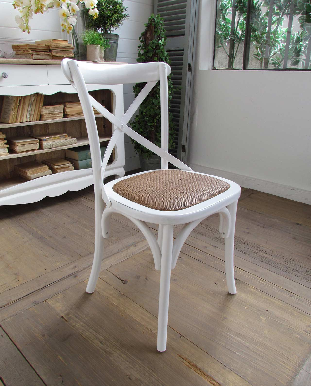 Sedie imbottite shabby olmo naturale rattan for Sedie bianche