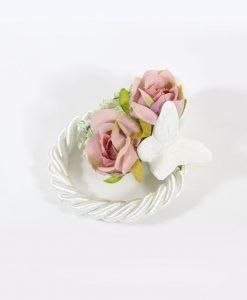 Segnaposto con Farfalla Capodimonte bianca e Magnolia rosa Rdm
