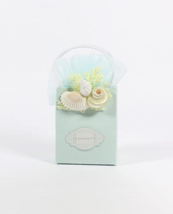 Borsette Portaconfetti Matrimonio Tiffany con Conchiglie Rdm-Borsette portaconfetti Bomboniere Comunione e Cresima Tema Mare