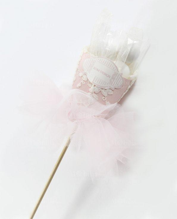 Sacchetti Confetti Bomboniere Comunione Cresima Tutù Rosa Rdm-Bomboniere per Battesimo Bimba Tutù Rosa con Confetti Rdm Design