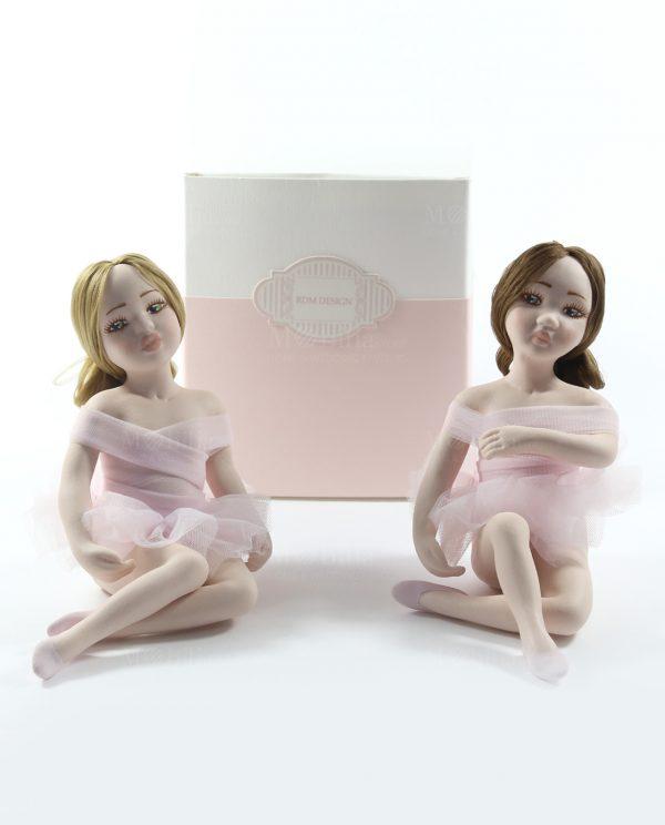 ballerine sedute in porcellana con tutù rosa rdm design