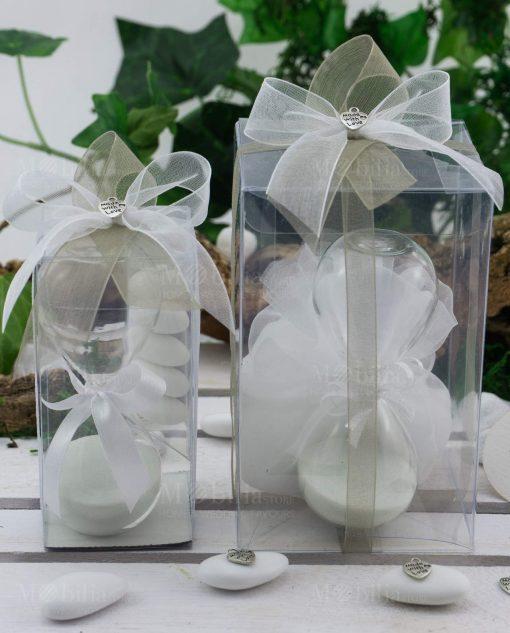 bomboniera clessidra con sabbia bianca confezionata con tubicino o sacchetto scatola con nastri