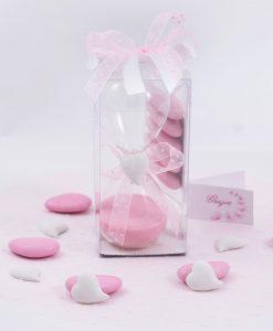 bomboniera clessidra con sabbia rosa gessetto cuore scatola trasparente e confetti rosa