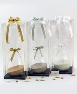 bomboniera clessidra grande sabbia e fiocchi vari colori applicazione farfalla scatola trasparente