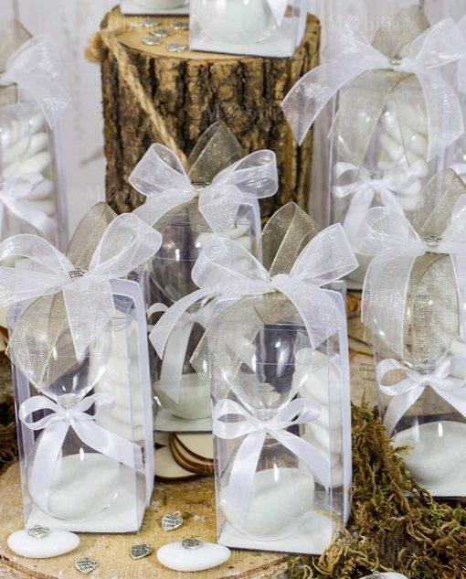 bomboniera clessidra piccola scatola pvc doppi fiocchi ciondolo cuoricino